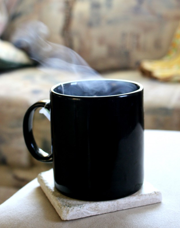 steaming mug of tea